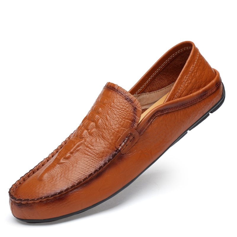 Brand Cow Genuine Leather Men Casual Driving Shoes Crocodile Grain Men Loafers Lazy Boat Footwear 2019 New