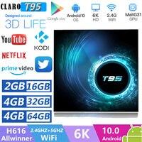 CLARO T95 Tv Box 4GB 32GB ROM Duble Wifi Bluetooth Android 10 Smart TV Box Allwinner H616 Unterstützung 6K Media Player Set Mi Box