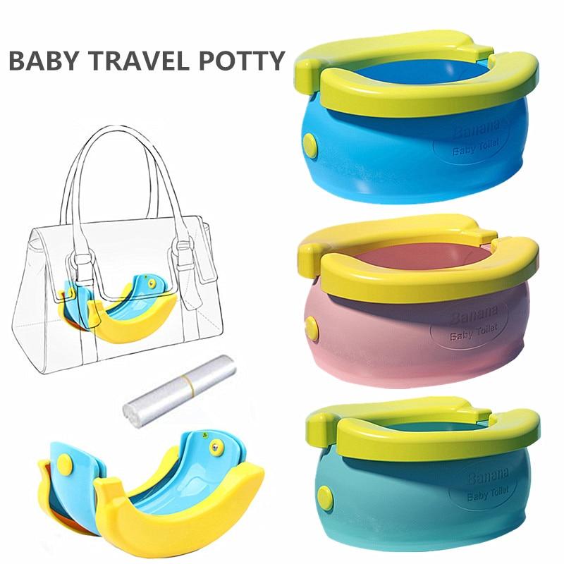 Portable Baby Chamber Pot Cartoon Banana Foldaway Toilet Training Seat Travel Potty Rings For Kids No-clean Vehicle Light Urinal