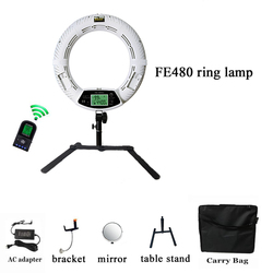 Yidoblo18 makeup ring light FE-480II, Bi-color LED Ring Light Macro Photographic Video Lights 110-220v with table stand