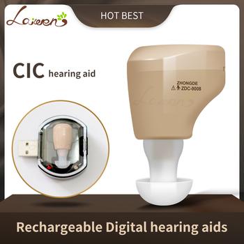 CN900B Mini aparaty słuchowe z możliwością ładowania Mini wzmacniacz słuchu wzmacniacz dźwięku do ucha aparaty słuchowe akumulator do aparatów słuchowych tanie i dobre opinie Laiwen rechargeable 7Hours 128db 31db 1 5v cic hearing aid rechargeable hearing aids Support