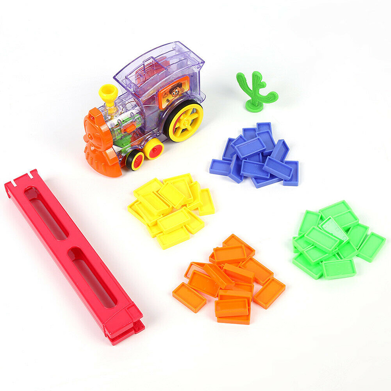 Domino Rally Electronic Train Model Kids Colorful Toy Set Children Girl Boy Gift
