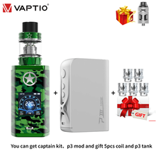 [5 個送信コイル] vaptioキャプテン吸うキット 220 ワットボックスmodフィット 2.0 ミリリットルアトマイザー外部 8650 バッテリー