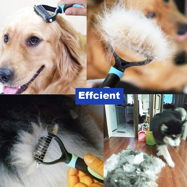 Pet Grooming Brush Double Sided Shedding and Dematting Undercoat Rake  5