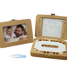 Tooth-Box Baby Keepsake Storageumbilical-Organizer Gifts Wooden Save Milk-Teeth Collect-English-Language