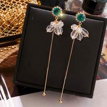 Fashion Crystal Long Earrings For Women 2019 New Simple Elegant Earings Party Jewelry Wholesale(China)