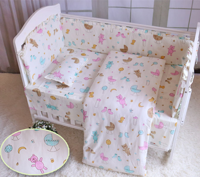 6/7pcs Baby Bedcloth Crib Bed Clothes Beautiful Conjunto De Berço Crib Bedding Set Baby Bumper Sets , 120*60/120*70cm