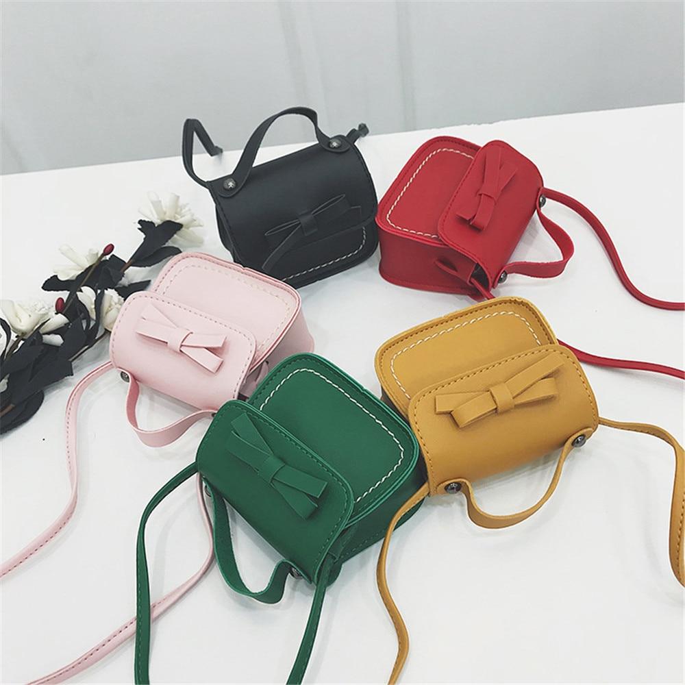 Children Girls Messenger Bag Cute Bowknot Pure Color Handbags Kids PU Leather Shoulder Bags Mini Crossbody Bag Coin Handbag