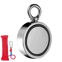 TOP! 420Kg Double Sided Round Neodymium Fishing Magnet 75Mm Super Neodymium Magnet With Eyebolt With 20M Rope Button For Magnet