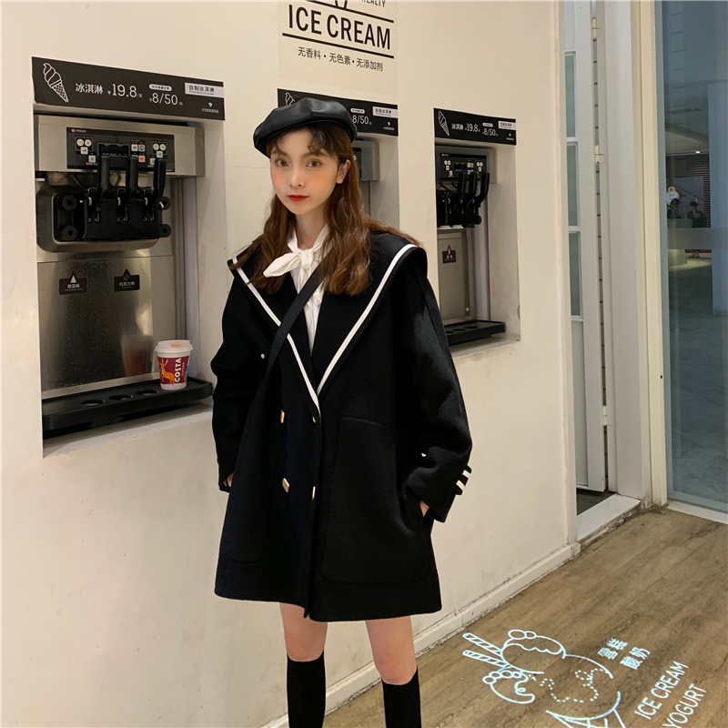 H852523b855ed47aebf018b33bb67a4728 - Winter Korean Big Lapel Collar Mid-Long Faux Woolen Coat