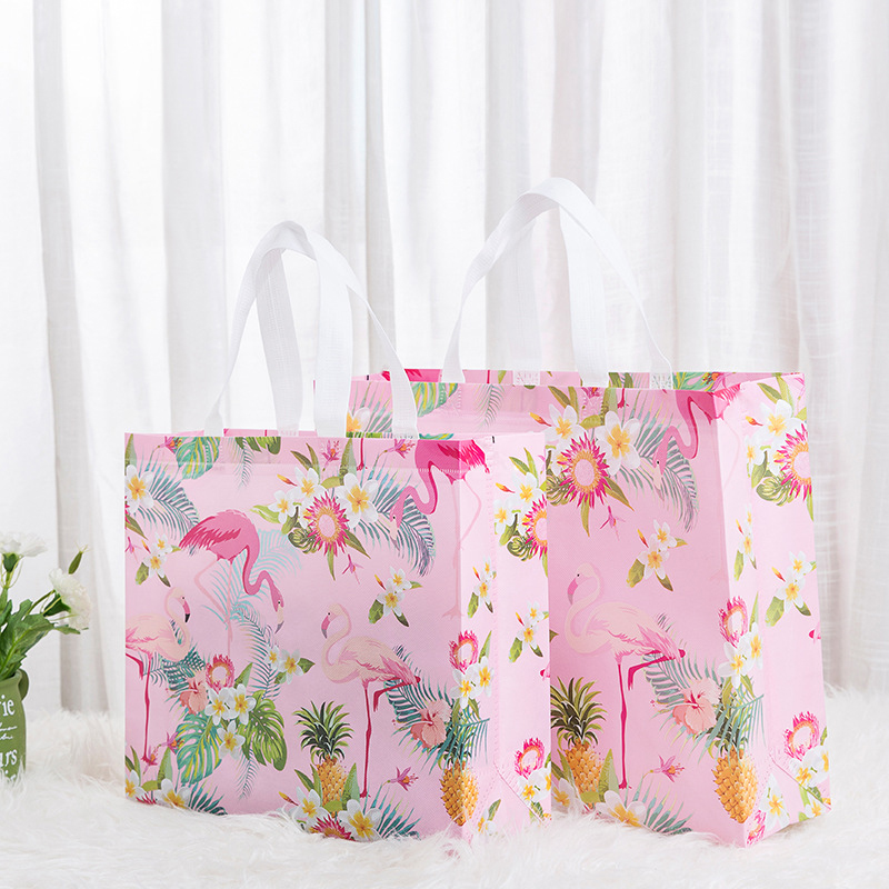 Non-woven Fabric Flamingo Shopping Bag Reusable Pouch Travel Storage Handbag