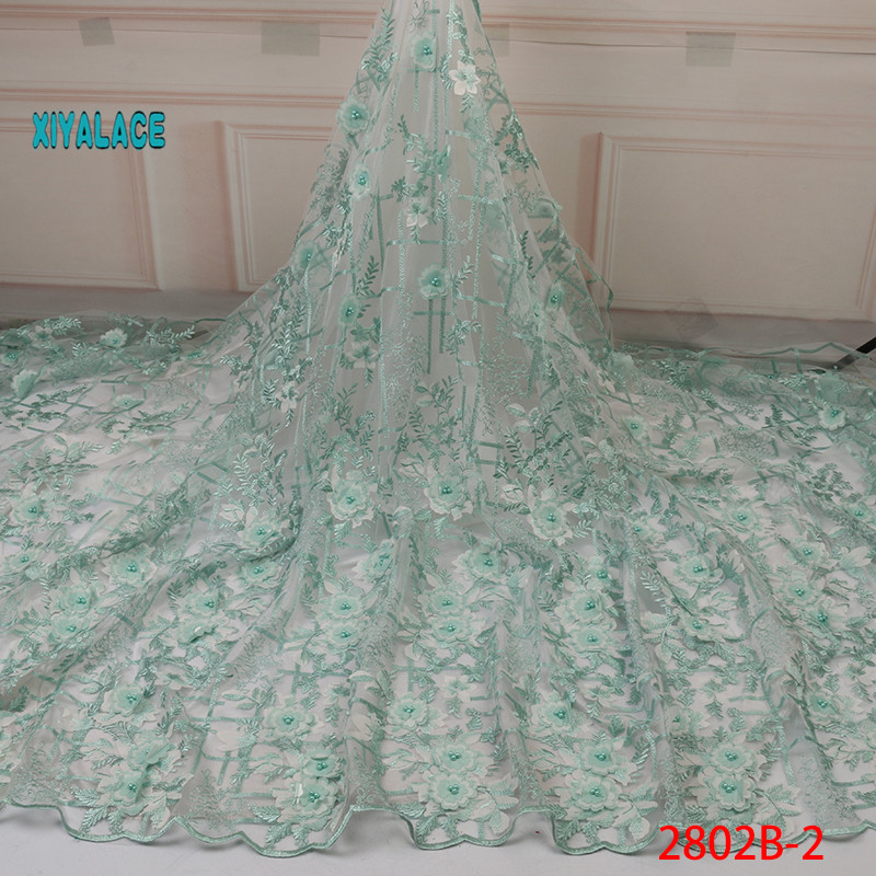 3D Flower Applique Mesh Lace Fabric Gold Line Guipure Stones Lace For African India Women Wedding Dress Fabrics Green  YA2802B-2