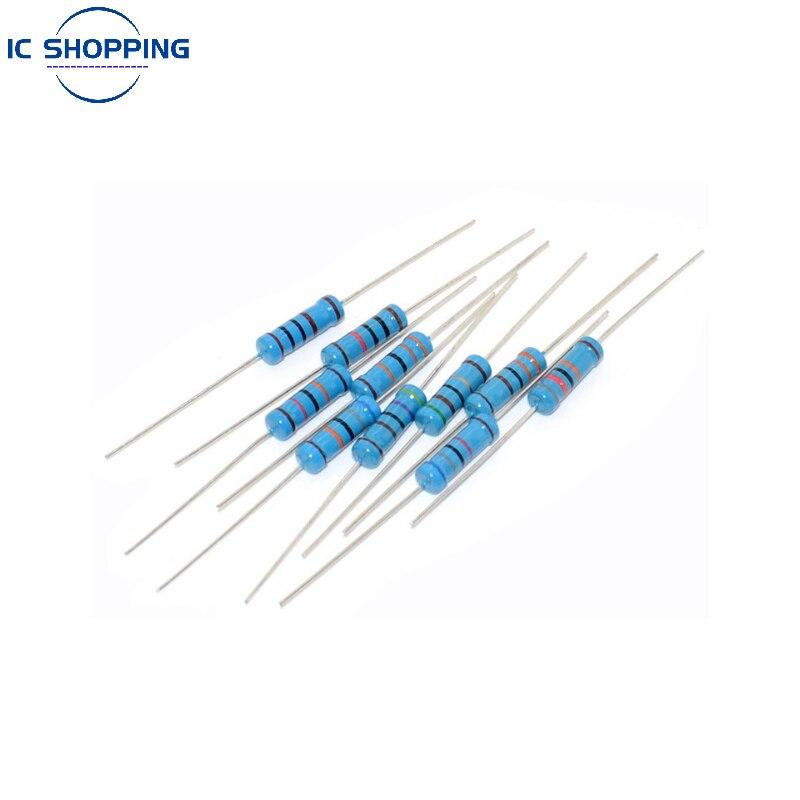 20 шт., металлический пленочный резистор 1%, 5 цветов, кольцевой Силовой Резистор 0,1 ~ 1 м 2 4,7 10R 47 100 220 360 470 1K 2,2 K 10K 22K 4,7 K 100K Ohn