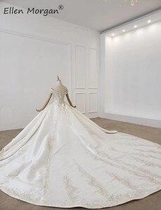 Image 3 - Luxus Kristalle Spitze Ballkleider Hochzeit Kleider für Frauen Saudi Arabischen Elegante Prinzessin Langen Ärmeln Perlen Brautkleider 2020
