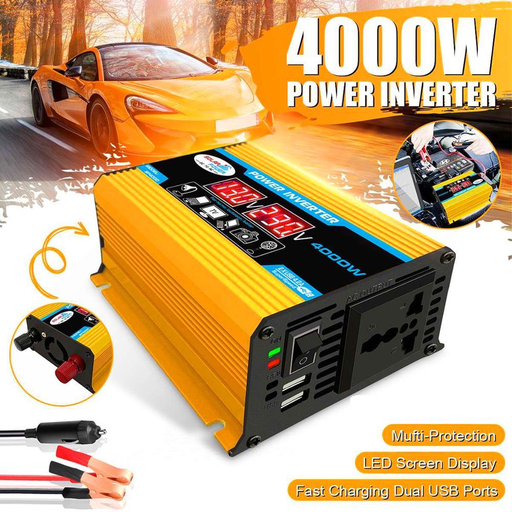 Nowy 4000W samochodowa przetwornica napięcia konwerter DC 12V do AC 220V/110V z LED wskaźnik napięcia ładowarka z podwójnym portem USB porty Adapter 4.2A