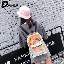 Fashion Women Backpack with Laser Transparent Backpacks for Girls Waterproof Ladies Beach Travel Bags mochila feminina