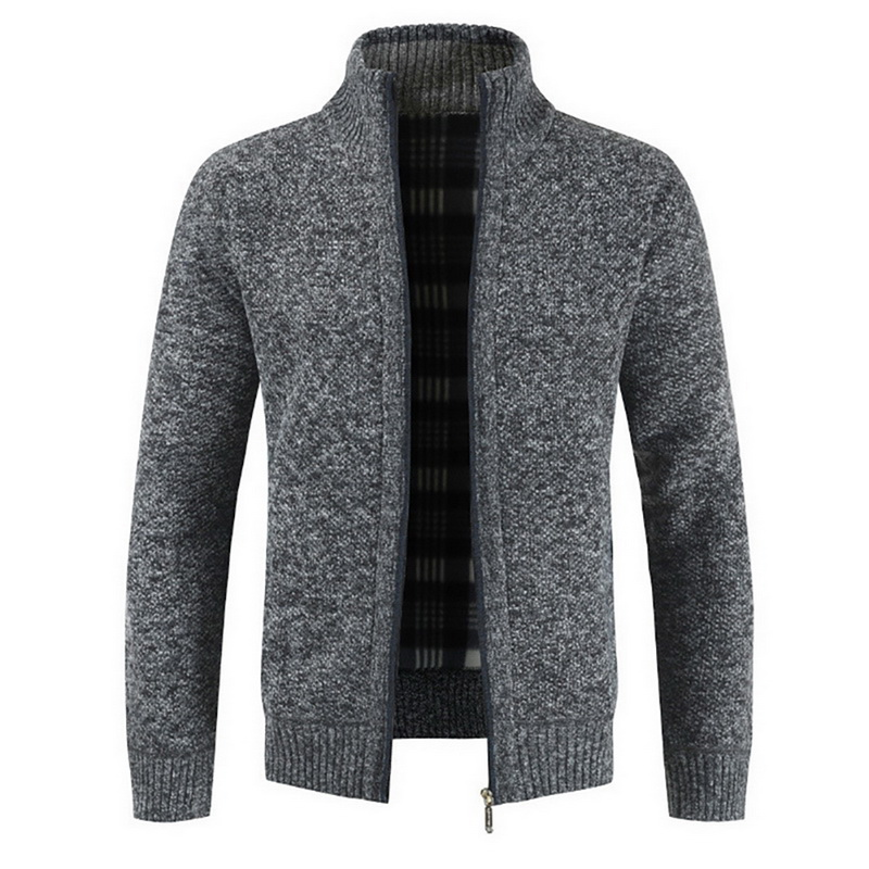 Stand Collar Knitted Men Sweater Coat Outerwear Slim Gentleman Cardigan Knitted Sweaters Men Pullover Solid Color Casual Jacket