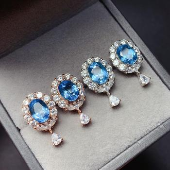 shilovem 925 silver sterling real natural Blue topaz Stud Earrings fine Jewelry new wholesale women new  6*8mm  yhe0608666agb