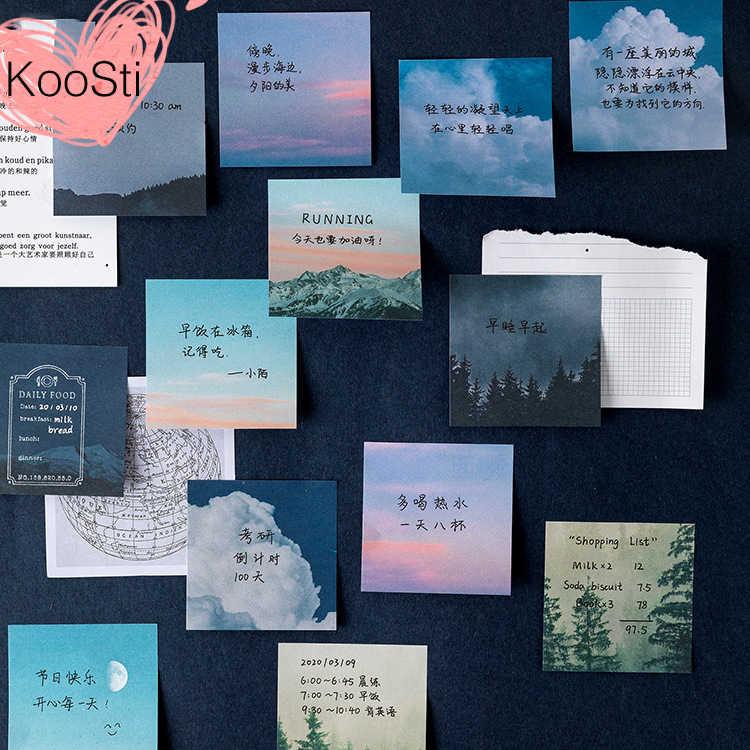 60 יח'\סט תזכיר רפידות ערכת Kawaii מדבקת גיליון כוכב שמש ירח כוכבים שמיים תוספות חמוד נייר פנקס רשימות תזכיר Pad דביק הערות מכתבים