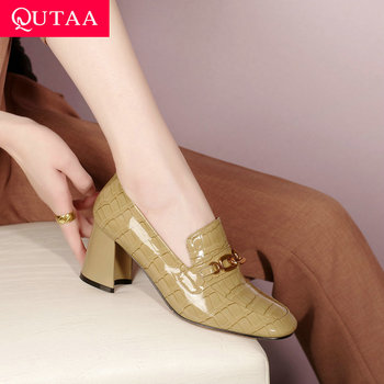 QUTAA 2021 Women Pumps Metal Chains Square Toe Slip On Ladies Shoes Spring Autumn Genuine Leather Square High Heels Size 34-41 image