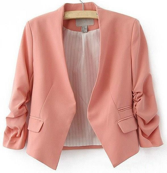Nice Womens Candy Color Blazer Jacket Long Sleeve Button Slim Suit V-Neck Casual Solid Short Blazer