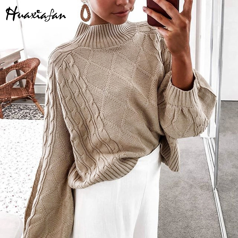 Huaxiafan Sweater Turtleneck Solid Loose Pullovers Knitted Women Long Lantern Sleeve Casual Tops Female Autumn Winter Jumpers