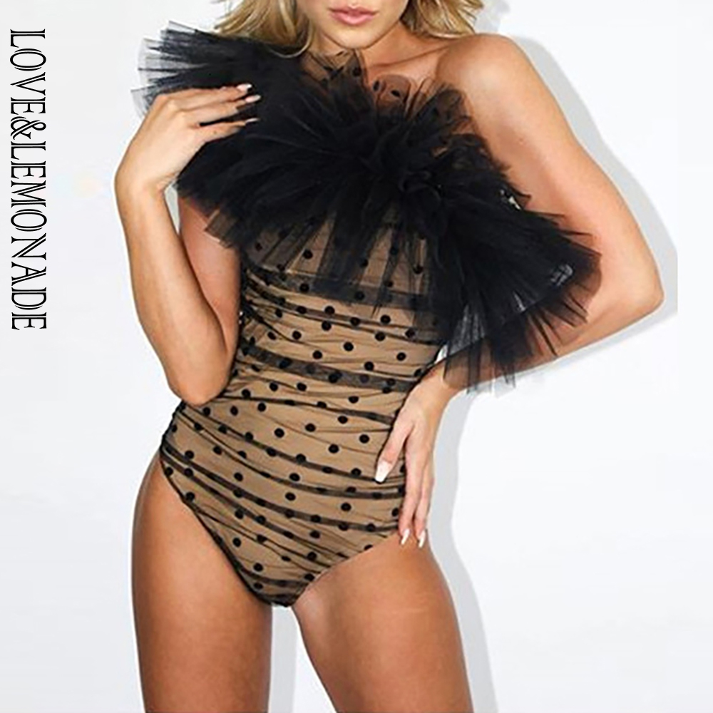 LOVE & LEMONADE Sexy Off Shoulder Ruffled Dot Mesh Bodycon Bodysuit LM90218