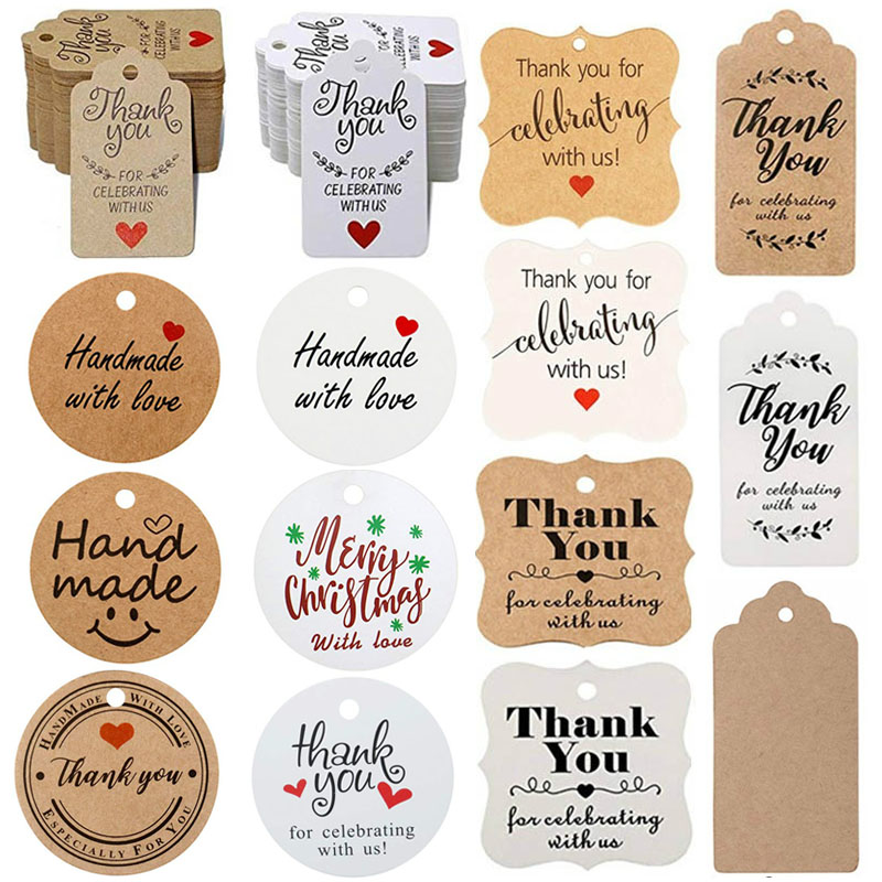 300Pcs Kraft brown /white Gift Tags Thank You paper tags for Wedding decoration baby shower Christmas Label Party decorations 1
