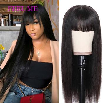 Proste włosy ludzkie peruki z grzywką wstępnie oskubane pełne peruki wykonane maszynowo peruwiański ludzki włos peruka naturalne 130 Remy peruki z prostymi włosami tanie i dobre opinie FEEL ME CN (pochodzenie) Remy włosy Peruwiański włosów Średnia wielkość Ciemniejszy kolor tylko 100 Human Hair Straight Hair Full Machine Made Wigs