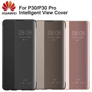 Image 1 - Huawei אותנטי אינטליגנטי מגן Flip מקרה עור כיסוי עבור Huawei P30 Huawei P30 פרו טלפון כיסוי