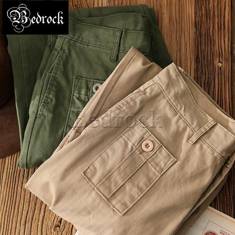 MMC British Army Pants Improved Herringbone fabric Casual Pants Loose Wide Legs Micro Cone Retro Ami Khaki Cargo Pants Men 7282