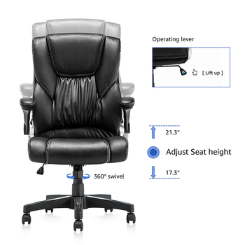 Yamasoro Office Armchairs Executive Computer High Back Adjustable Ergonomic Comfort Desk Chair With Wheel  Flip-up Arm Gas Lift 3