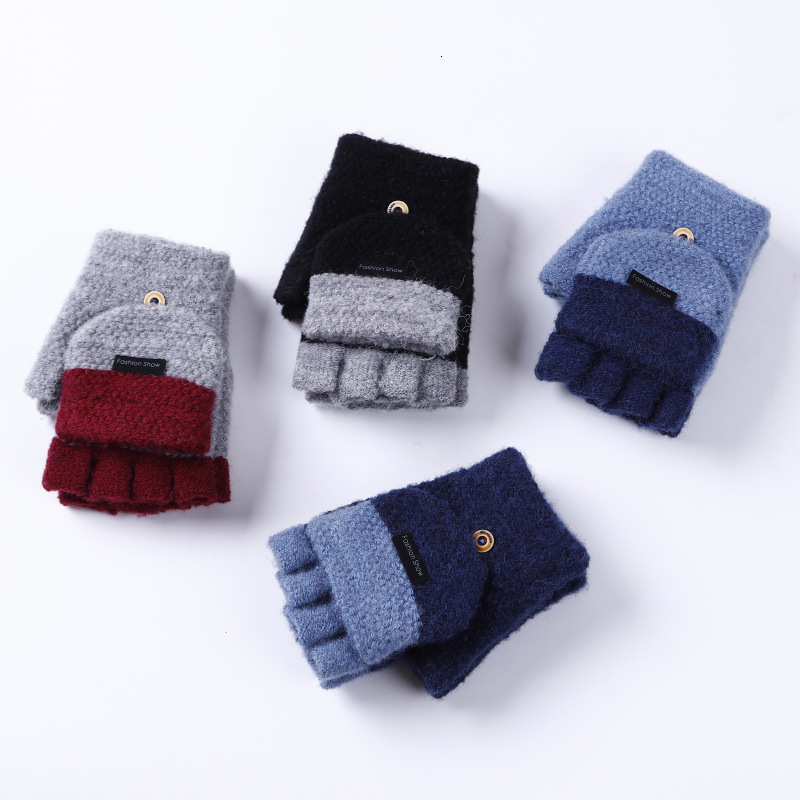 Mens Winter Warm Thickening Wool Knitted Flip Fingerless Exposed Finger Thick Gloves Half Finger Mittens Hand Sets
