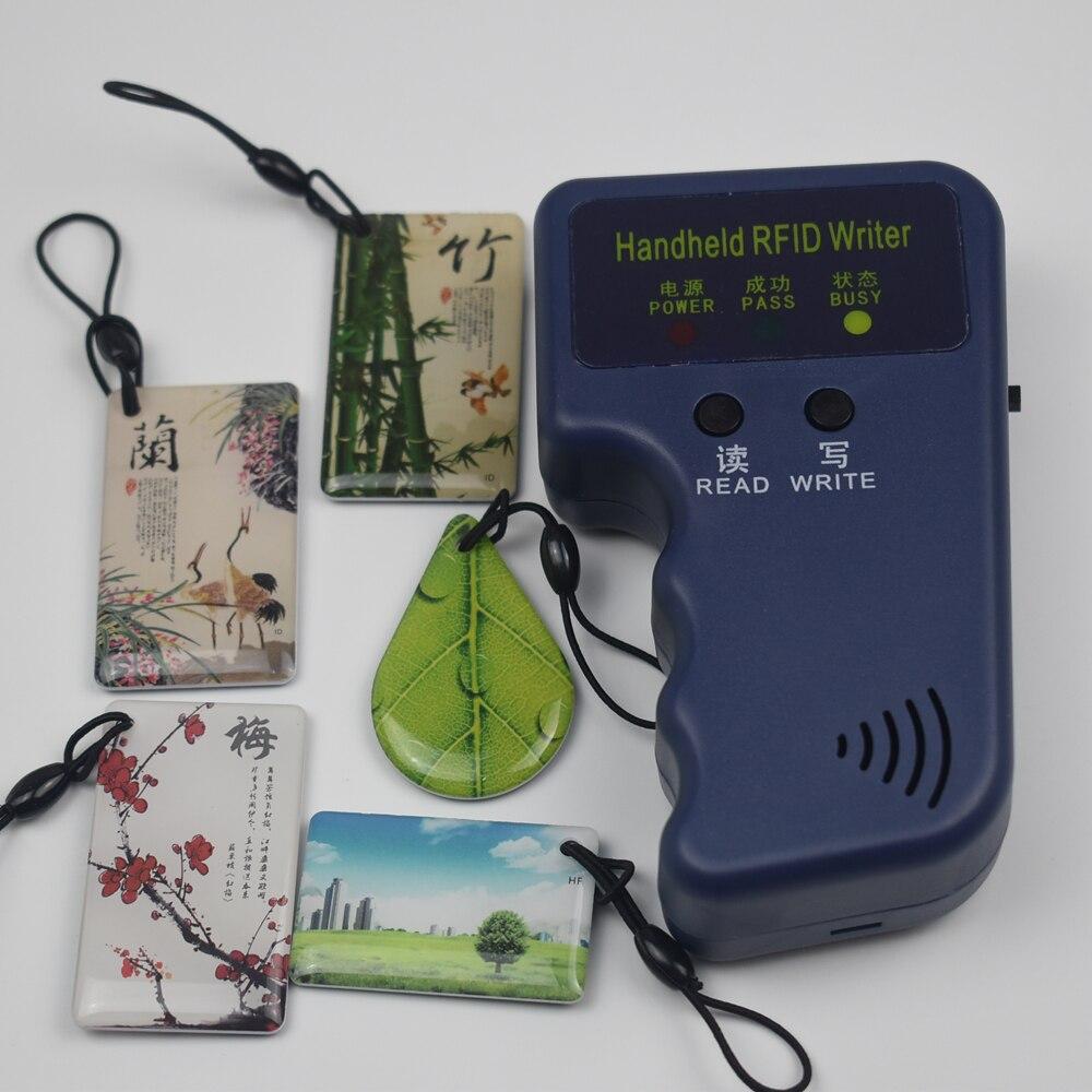 Copiadora RFID duplicadora Cloner ID EM lector y escritor + 5 uds EM4305 T5577 llavero de escritura 125KHz RFID duplicador copiadora escritor programador lector escritor Tarjeta de Identificación Cloner & key