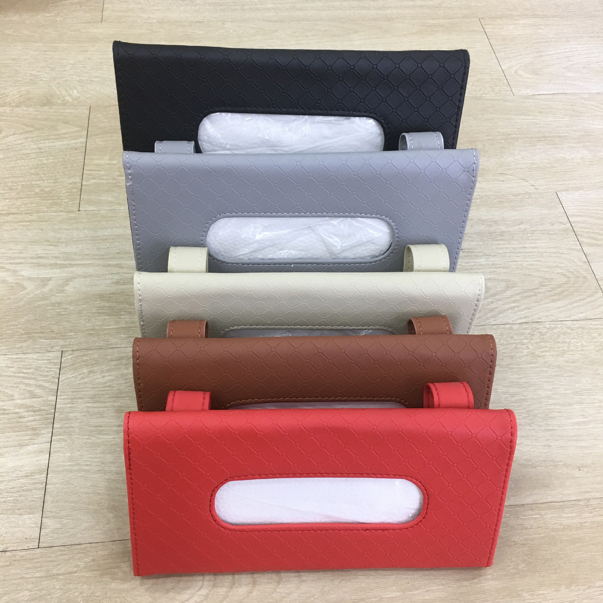 Manufacturers Wholesale Embossing Tissue Bag Car Sunshade Hanging Paper Extraction Box Tissue Bag
