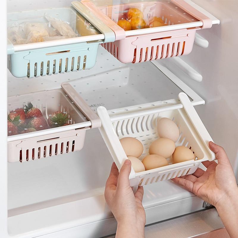 Retractable Refrigerator Partitions Drain Fruits Storags Boxes Fridge Shelfs Holder Drawer Type Storage Box Classification Rack