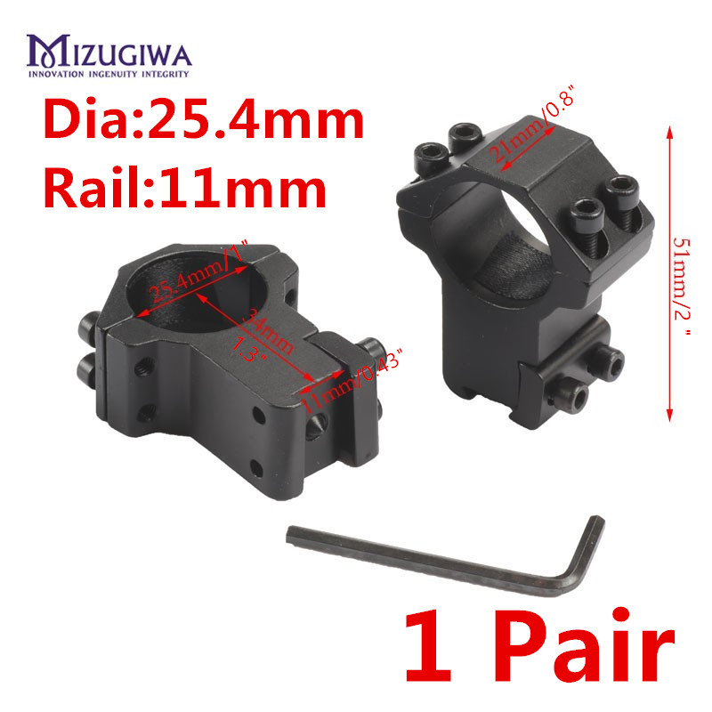 MIZUGIWA High Scope Mount 25.4mm Rings For Weaver Picatinny 11mm Rail For Optics Sight Rifle Pistol Airsoft Gun Hunting Caza