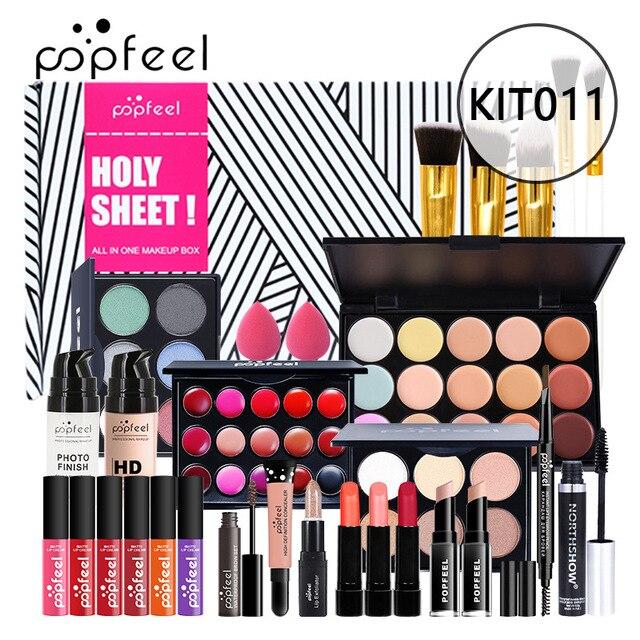 Juego de maquillaje completo, ceja de lápiz labial, brillo de labios, base de brocha para maquillaje en polvo, Kit de cosméticos con bolsa de maquillaje 2