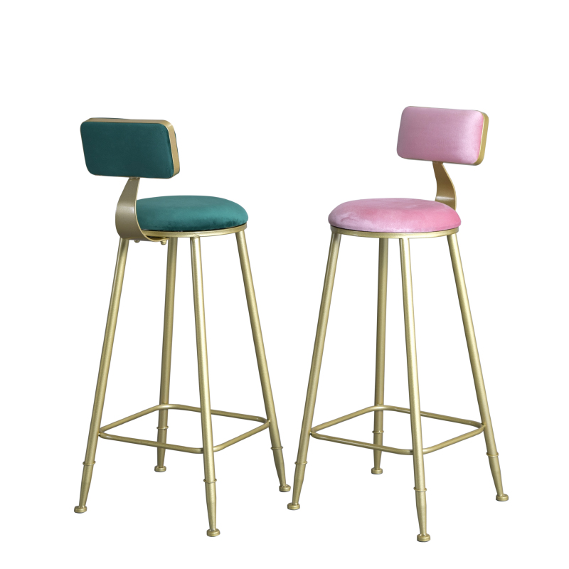 Nordic Light Luxury Simple Bar Table Chair Backrest High Stool     Front Restaurant Lounge