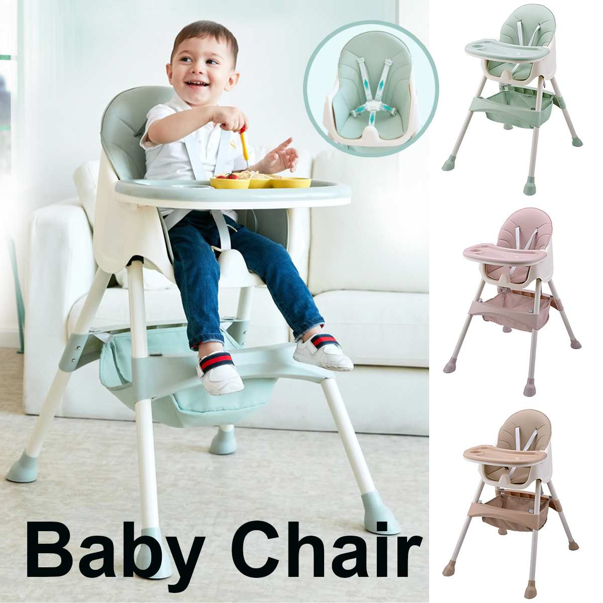 Adjustable Baby Kids Highchair Feeding Dining Chair Double Tables Macaron Multifunction Height Adjust Portable with Storage Bag