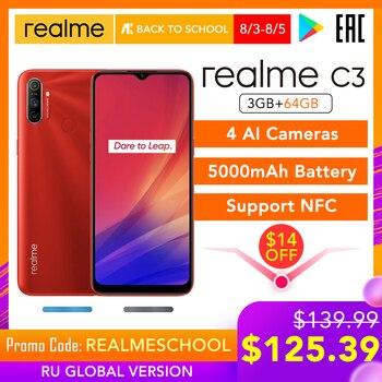 Перейти на Алиэкспресс и купить Realme C3 глобальная версия с поддержкой NFC 3 ГБ ОЗУ 64 Гб ПЗУ 5000 мАч батарея Helio G70 AI процессор 12MP + 2MP + 2MP AI 3 задние камеры HD +