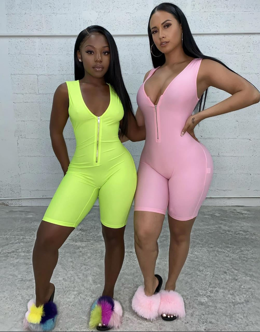 Fitness Sporty Active Wear Sleeveless Playsuit Athleisure Neon Color Rompers Women Zipper Biker Bodybuilding Jumpsuits