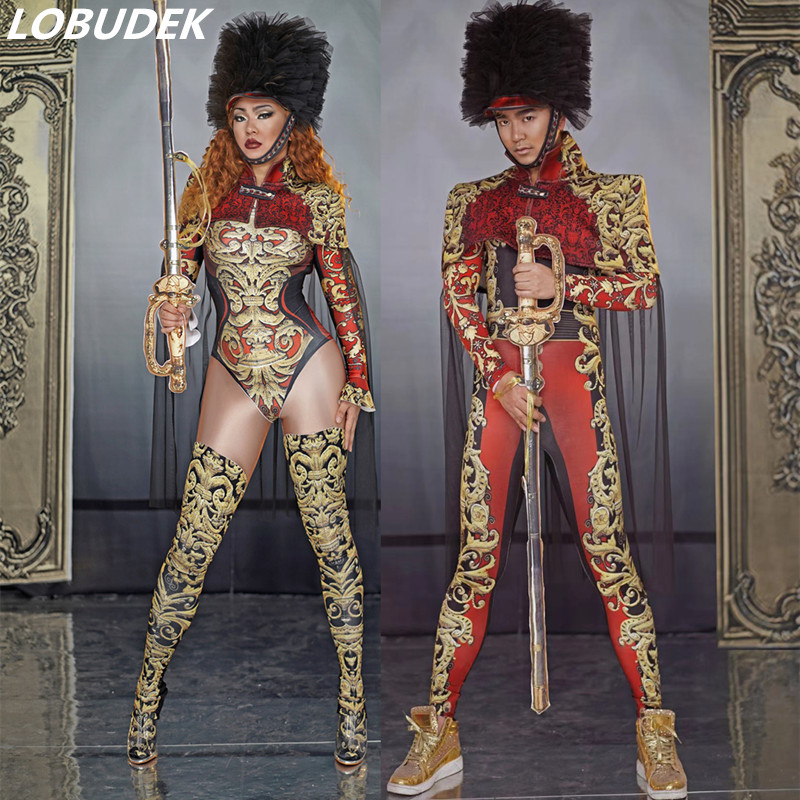 Vintage Printed Bodysuit Military Uniform Male Female Cosplay Costume Halloween Singer Dancer Stage Role Performance Outfits
