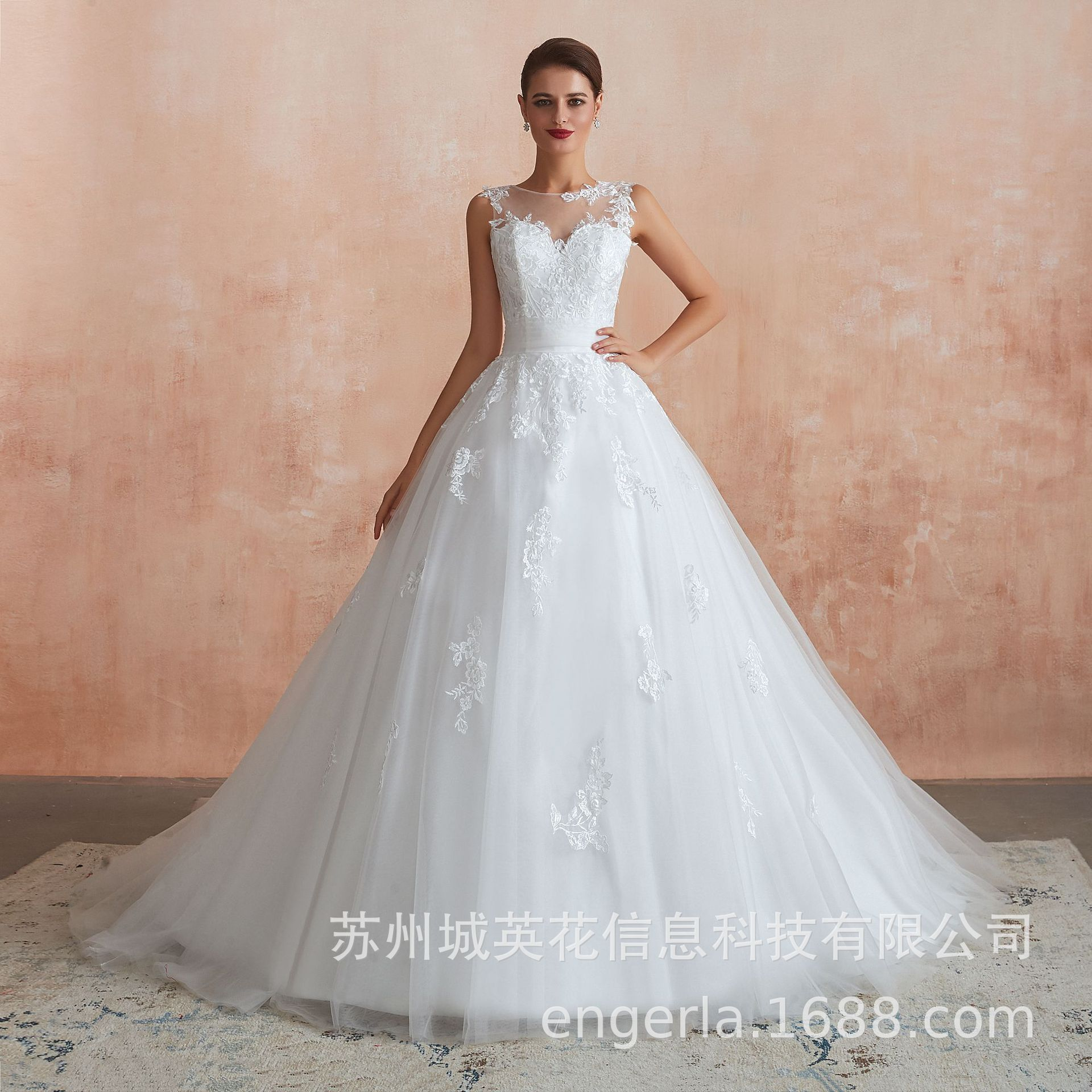 French Luxury Ball Gown Wedding Dresses Lace Appliques Pearls Bridal Gowns Vestido De Novias