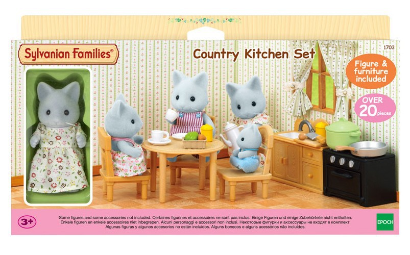 Sylvanian Families Toy Sylvanian Families Gray Cat Mom Dining Room Case GIRL'S Play House Doll Toy 5164