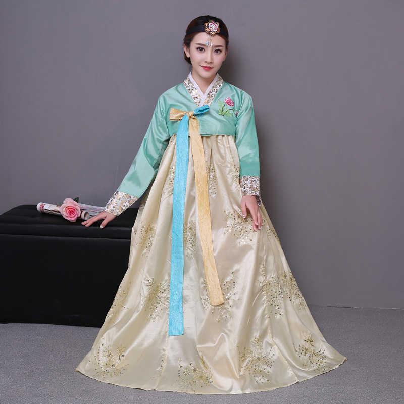 ĐÍNH HẠT CƯỜM Hàn Quốc Trang Phục Truyền Thống Hanbok Nữ Hàn Quốc Cung Điện Trang Phục Hanbok Đầm Quốc Gia Vũ Quần Áo Cho Diễn Sân Khấu 89