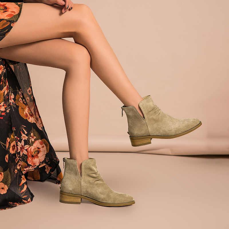 BeauToday yarım çizmeler Kadın Hakiki Deri Pilili Tasarım En Kaliteli Inek Süet Kadın moda ayakkabılar El Yapımı 03271