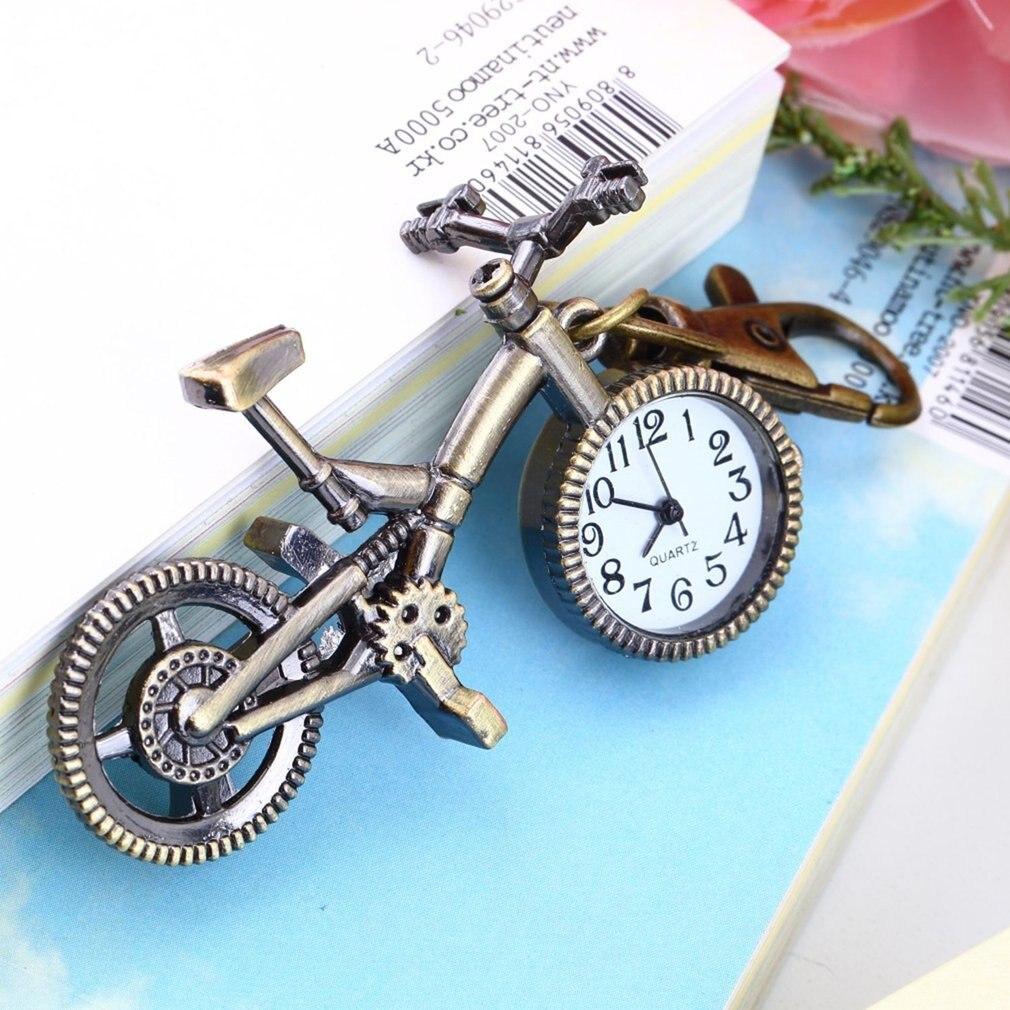Fashion Vintage Bronze Color Bike Keychain Clock Quartz Pocket Pendant Watch Necklace Sweater Key Chain For Women Boys