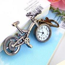 Мода старинные бронзовый цвет велосипед брелок часы Кварцевые карманные подвеска часы ожерелье свитер брелок для женщин мальчиков