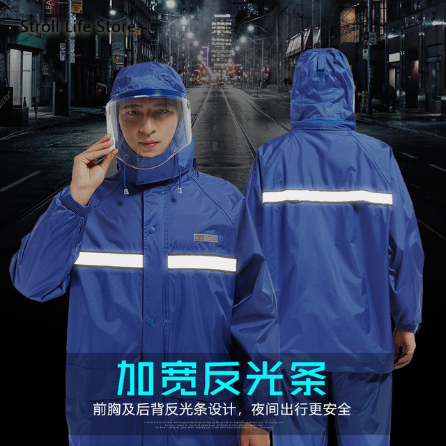 Electric Motorcycle Raincoat  Waterproof Suit  Rain Coat Jacket Men Riding Rain Pants Set Double Thickened Mens Sports Suits 3